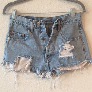 90s Vintage Pepe Distressed Button Fly Jean Shorts